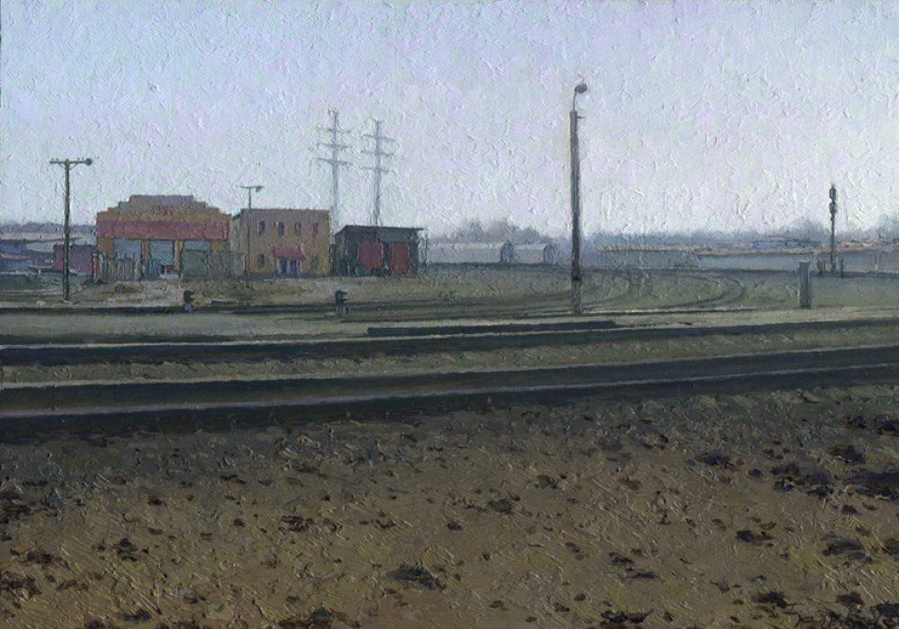landscape painting with spring railroad station by artist Daniil Belov