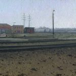 landscape painting with spring railroad station by artist Daniil Belov
