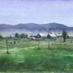Among the mountains landscape watercolor painting