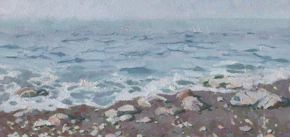 Rocks on the adriatic sea shore landscape painting by artist Daniil Belov