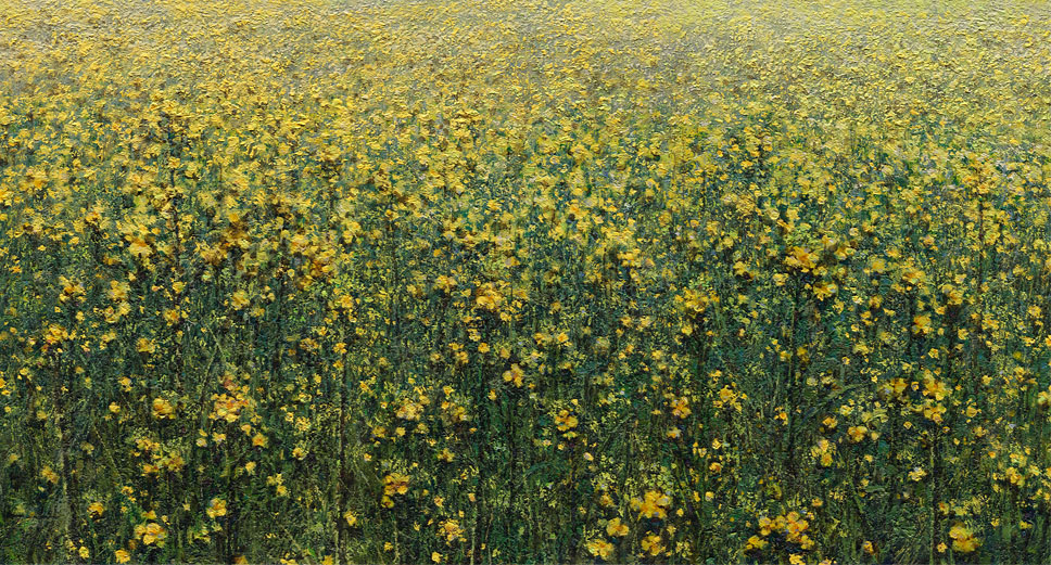 Picture with rapeseed on the artist Daniil Belov site leading to his landscape paintings