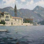 Painting sea - Bay of Kotor oil landscape with town, mountains and a boat