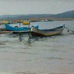 Морской пейзаж маслом Бяла с лодками на пристание и морем