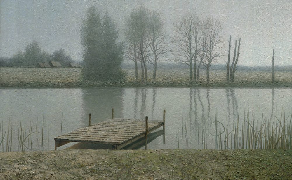 Calm dock - painting with river, village and trees. Oil. By artist Daniil Belov.