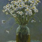 "Still life ""Daises"" in a jar by artist Daniil Belov, oil painting"