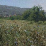 Bulgarian painting with mountains with chicory flowers