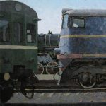 Artist Daniil Belov: industrial landscape train painting with rails and station
