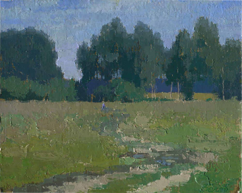 Field landscape apinting with trees, grass, summer, and sky