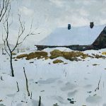 Winter landscape painting with trees, snow, stables and forest, oil, cardboard.