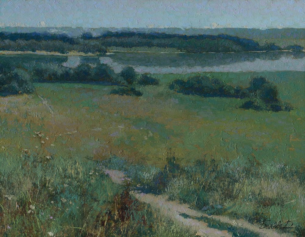 Plein air oil painting Kolomenskoe summer field landscape with river, sun and trees
