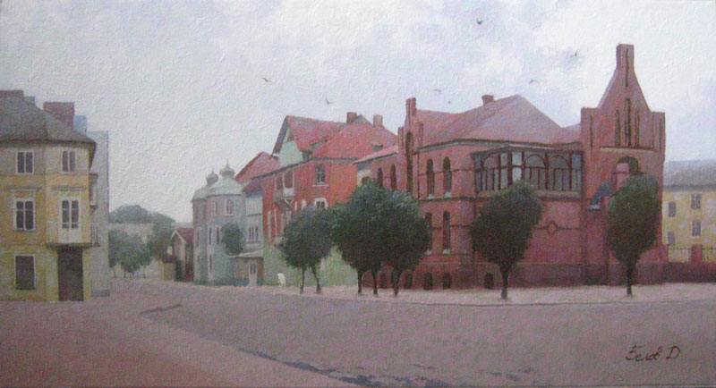 Main square of Kranz oil landscape painting from Zelenograds