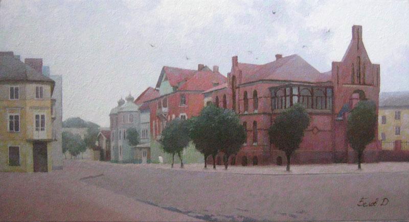Main square of Kranz oil landscape painting from Zelenograds
