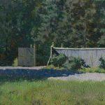 Лесной пейзаж Лесничество - картина маслом с деревьями, кустами и забором