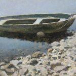 Картина лодка - живопись маслом с рекой и камнями.