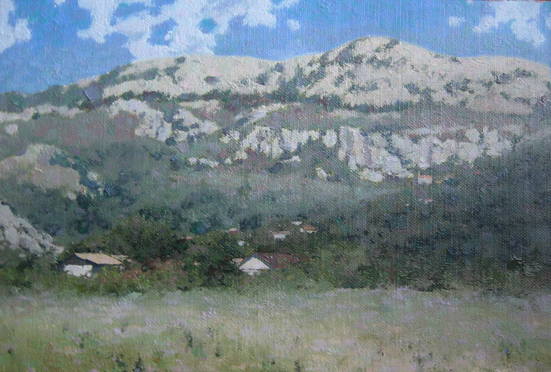 Mountain landscape painting Montenegro with a village in trees