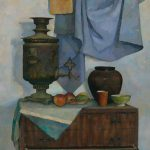 Натюрморт с самоваром, фруктами, горшками и шкафчиком, живопись маслом.