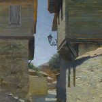 Landscape painting cityscape Nesebar street with long shadows, houses and the blue sky