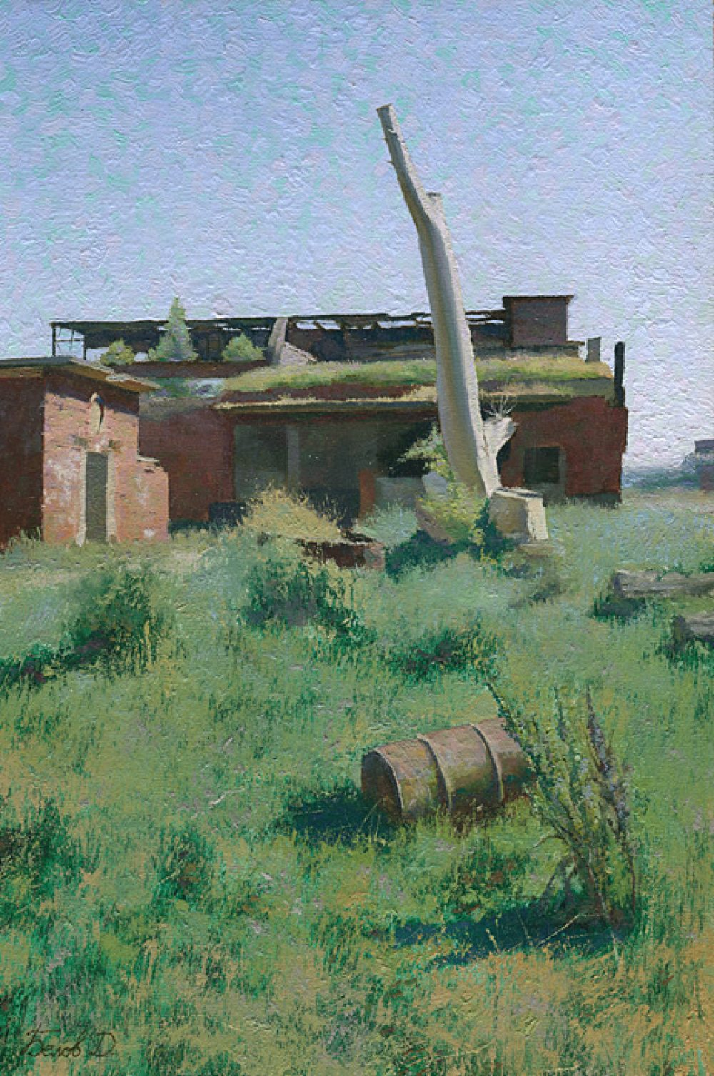 Base Neutief oil landscape painting with ruins of nazi's aerodrome Neutief
