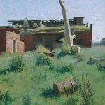 Base Neutief oil landscape painting with ruins of nazi's aerodrome Neutief
