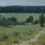 """Картина летний пейзаж """"Орехово"""" с травой, летним солнцем и деревьями вдалеке"""
