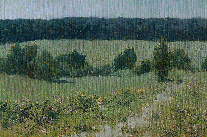 Summer landscape oil painting - field with trees, flowers and road