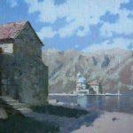 Картина остров Госпа од Шкрпела, пейзаж маслом художника Даниила Белова