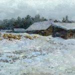 Зимний этюд - живопись маслом, на котором показана оттепель с тропинкой и лесничеством