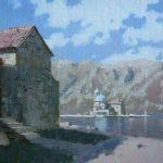 Our Lady of the Rocks island (buildings on Gospa od Skrpjela island) oil landscape painting by artist Daniil Belov