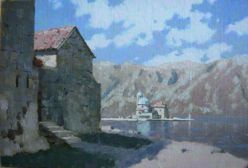 Our Lady of the Rocks island (buildings on Gospa od Skrpjela island) oil landscape painting by artist Daniil Belov