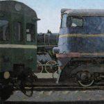 Полустанок, индустриальный пейзаж с поездами и рельсами