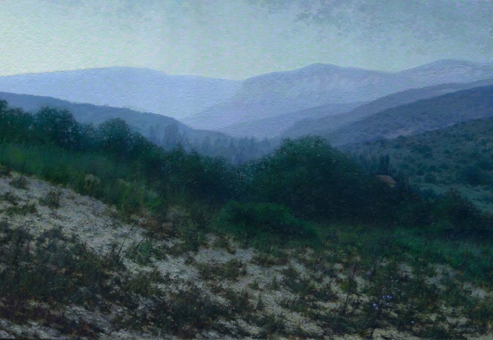 """Crimea landscape painting """"Rainy Morning"""" with mountains, trees"""