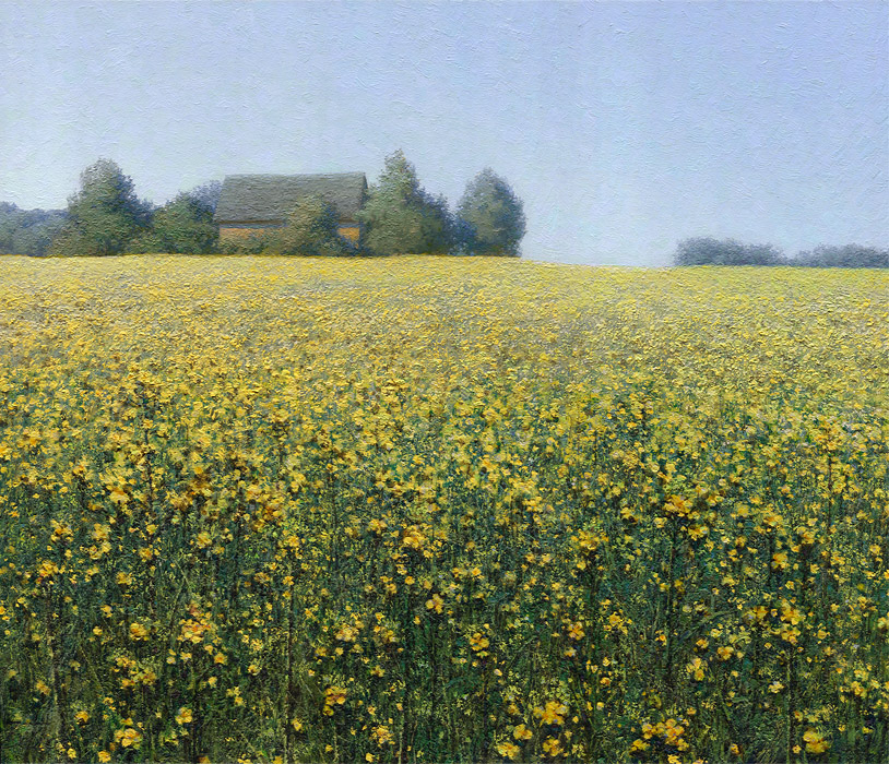 Rapeseed yellow flowers - landscape oil painting by Daniil Belov