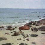 Rocks on the Baltic Sea shore - sea oil painting by artist Daniil Belov