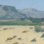 Sicilia painting oil landscape with sand, mountains, village and trees