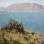 Sea and mountains on Sicilia morning landscape painting