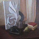 Советский натюрморт с гипсовой розеткой, грушей, книгами и телефоном