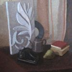 Soviet still life with plaster rosette, teapot and phone - oil painting by artist Daniil Belov