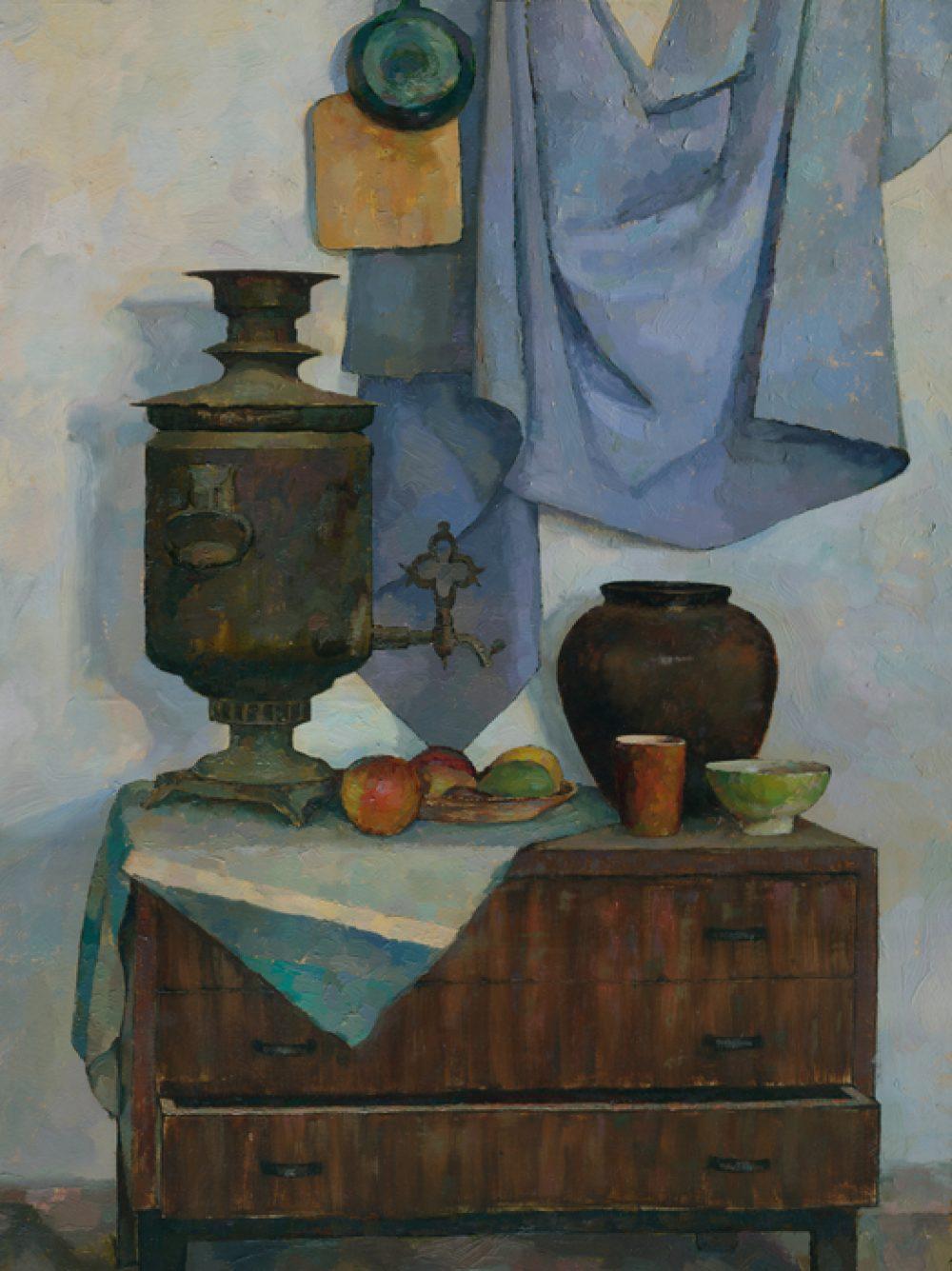Still life with samovar - oil painting by Daniil Belov.
