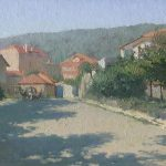 Oil cityscape painting Street in Obzor with trees, city houses and horse wagon