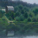 Картина озера пейзаж маслом художник Белов с лодками и домиком
