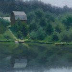 Lake painting oil landscape with boats, river, house and trees