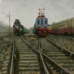 Railway painting Terminal station - oil landscape painting