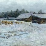 Winter painting. Landscape with Thaw by artist Daniil Belov