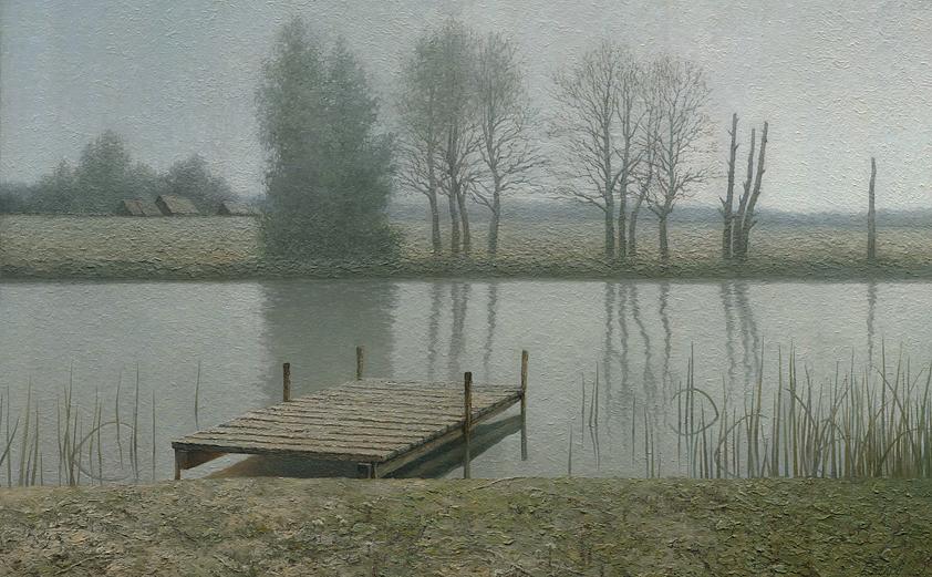 """Картина с рекой """"Тихий причал"""" - пейзаж маслом художника Даниила Белова"""