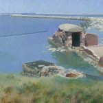 Oil painting with Fort West in Kaliningrad Region