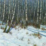 Oil landscape painting Birches by Daniil Belov with trees and snow