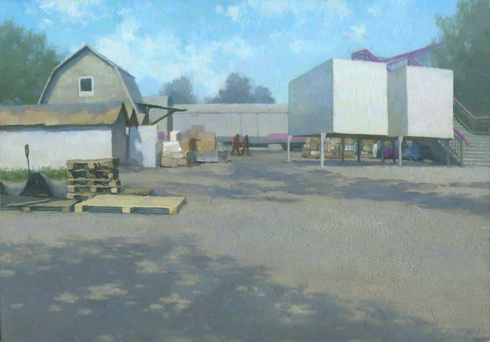 Railway station painting Summer at Moscow 3 - oil landscape painting