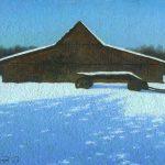 Лесной зимний пейзаж - картина маслом с домом и телегой