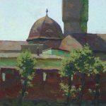 landscape painting water tower by Daniil Belov